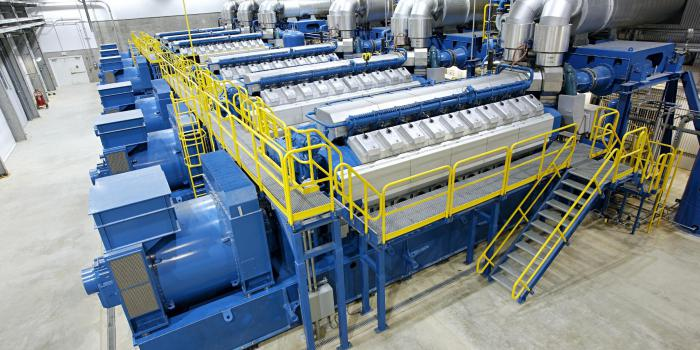 Wartsila 112 MW Smart Power Generation power plant with twelve 34SG engines running on natural gas North Dakota USA Oct 2014